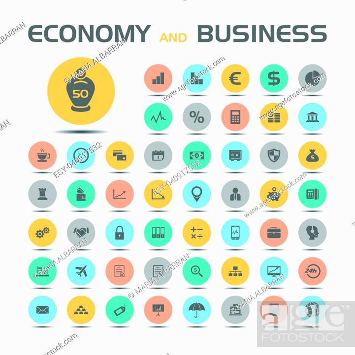 Stock Vector: 50 Economy and business icons on colored buttons with shade.
