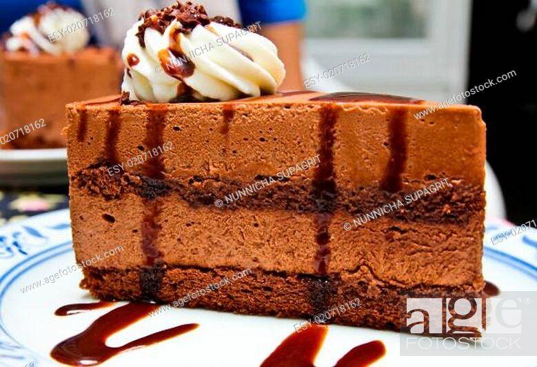 Stock Photo: Piece of chocolate moose cake.