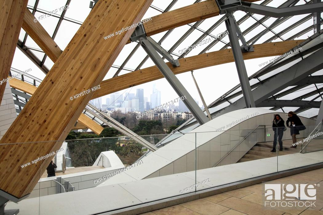 Stock Photo: Louis Vuitton Foundation in Paris, France on January 26, 2015. Louis Vuitton Foundation in Bois de Boulogne in west part of Paris was opened on October 28, 2014.