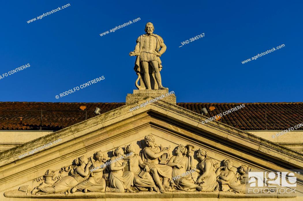 Stock Photo: Gil Vicente statue in Dona Maria II Theater (Lisbon, Portugal).