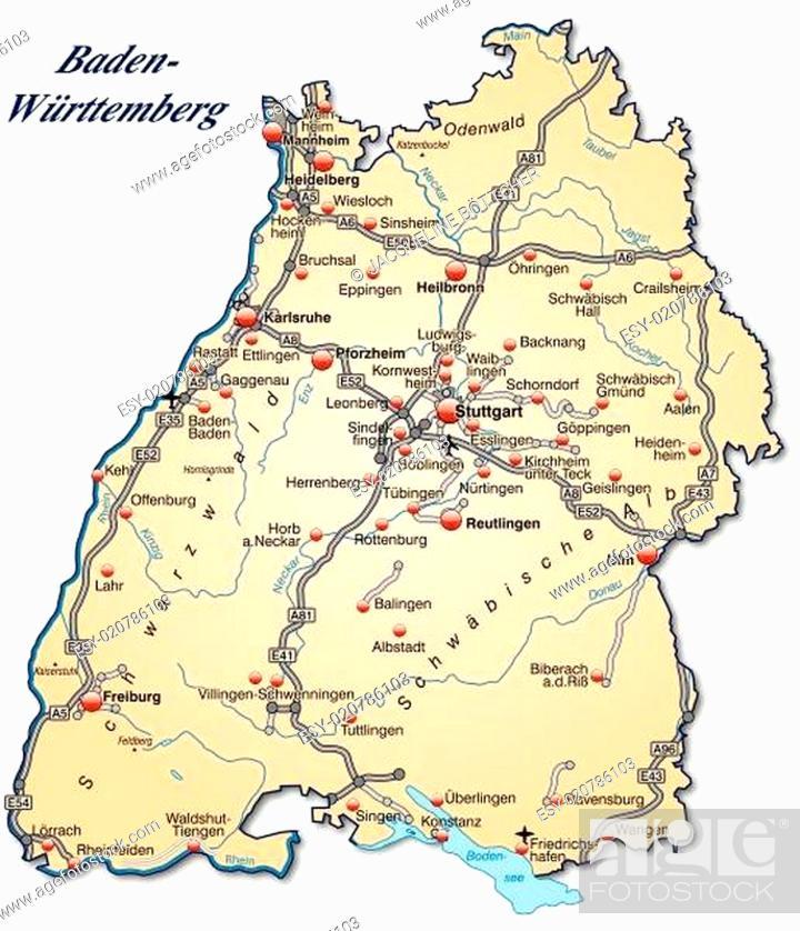 Stock Vector: Karte von Baden-Wuerttemberg mit Verkehrsnetz in Pastellorange.