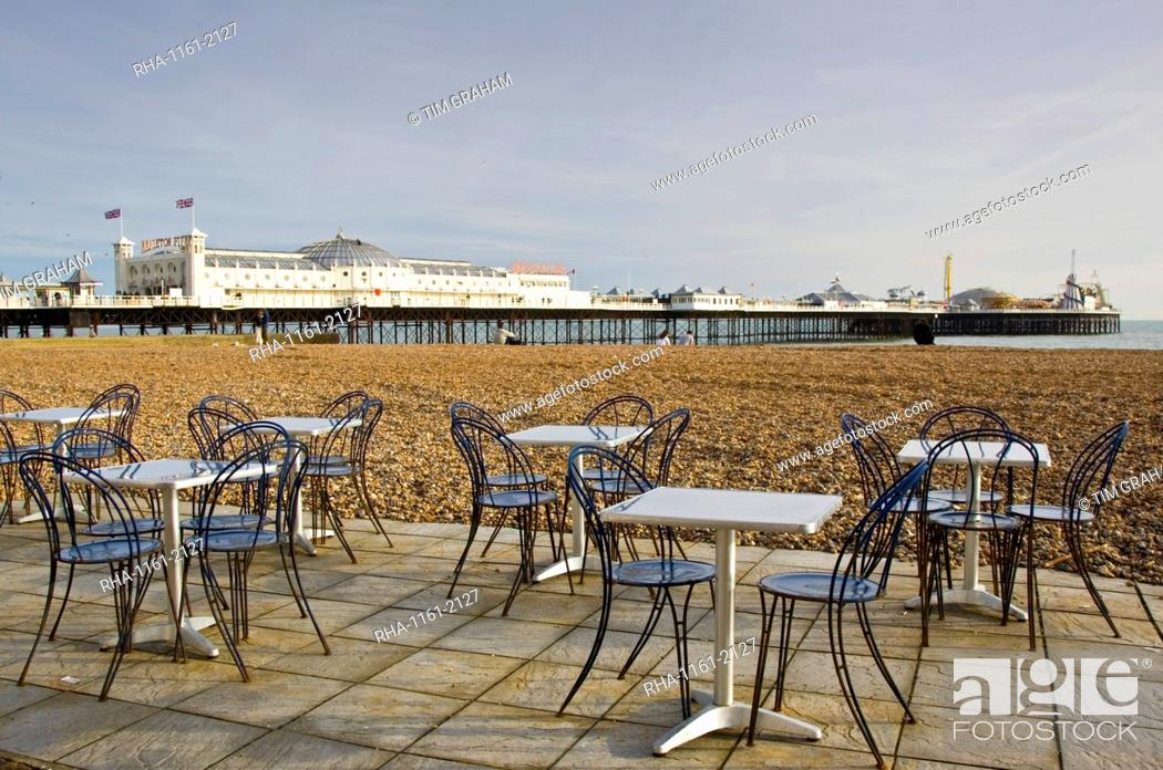 Stock Photo: Tables and chairs on Brighton beach, England, United Kingdom.