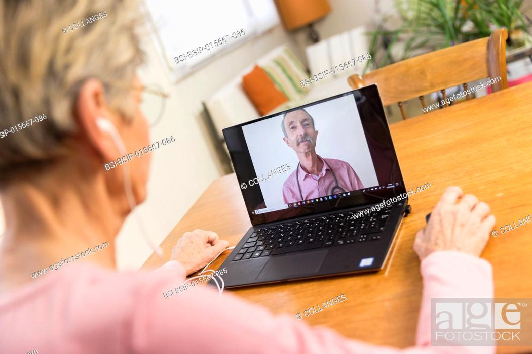 Stock Photo: Senior woman teleconsulting from home.
