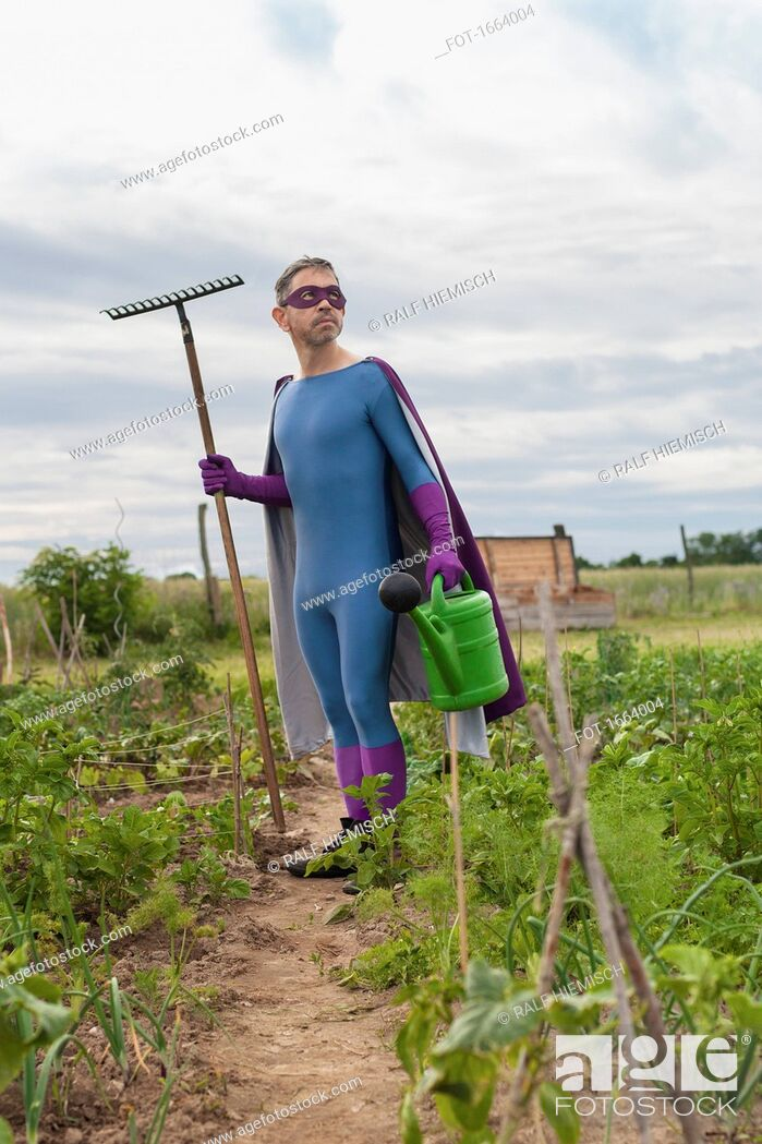 Stock Photo: Mature man in superhero costume holding rake and watering can while standing at vegetable garden.