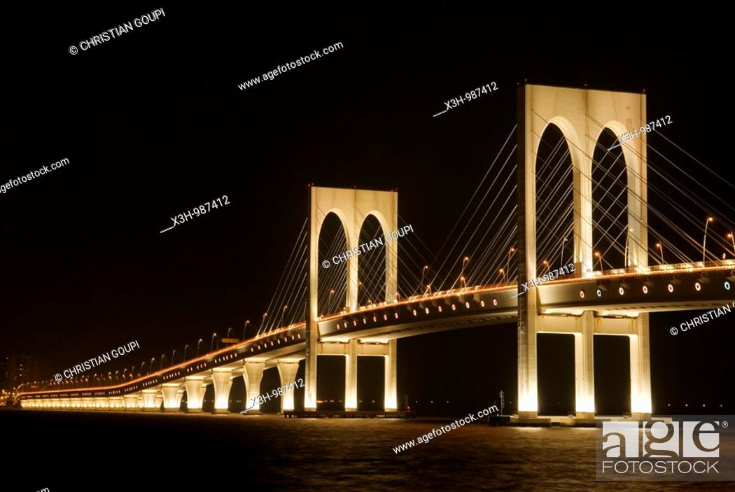 Stock Photo: Sai Van bridge that links Macau to Taipa island,Special Administrative Region,China,Asia.