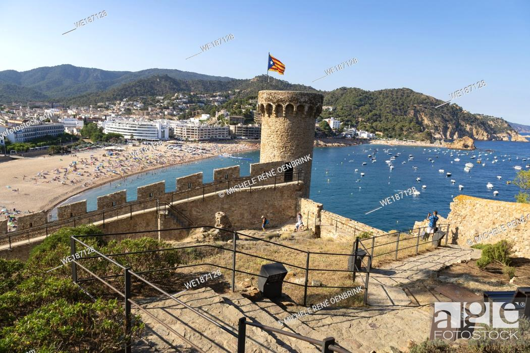 Stock Photo: Spain, Europe, Catalonia, Costa Brava Coast, Tossa de Mar, town, Tossa castle, sunset, beach, blue, castle, coast, Costa Brava, .