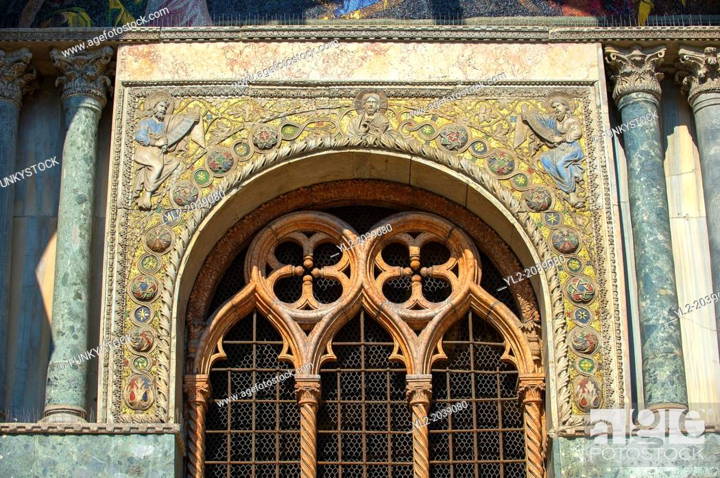 Stock Photo: Medieval Oriental style Sculptures from the facade of St Mark's Basilica, Venice.