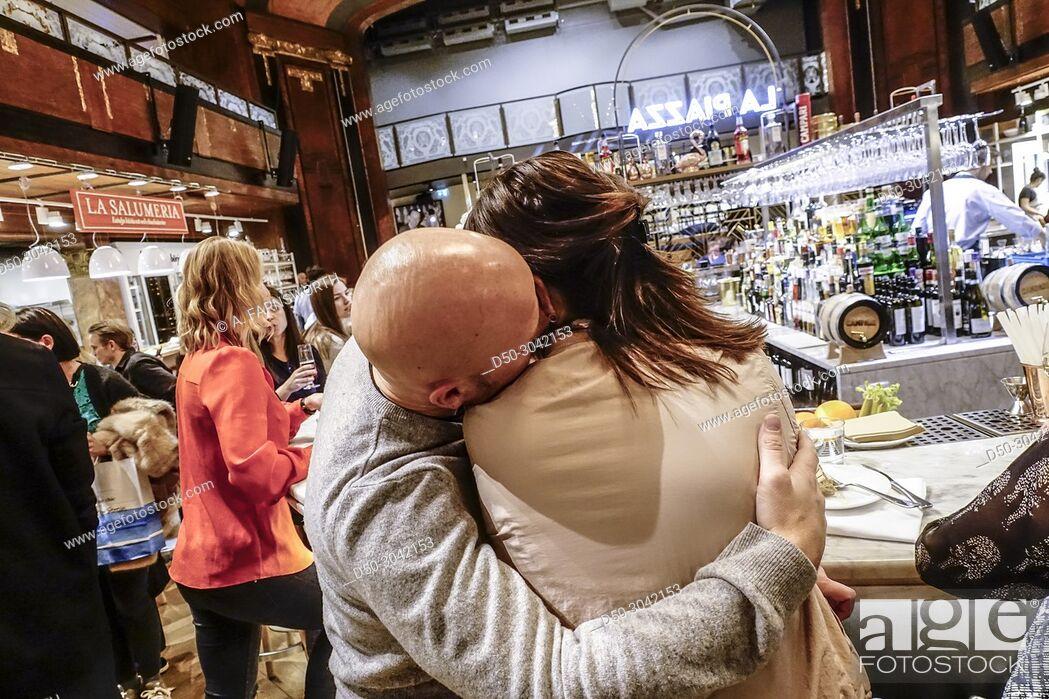 Stock Photo: New Eatily Italian deli restaurant food court. Stockholm, Sweden.