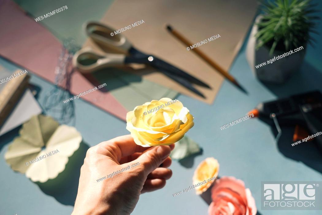 Imagen: Female hand holding a paper rose.