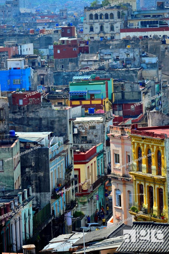 Stock Photo: Aerial view of Old Havana, Cuba.