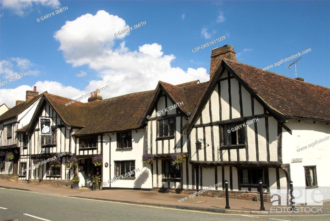 Stock Photo: England, Suffolk, Lavenham. The Swan Hotel, an English country hotel in a half-timbered medieval building dating back to the 15th century.