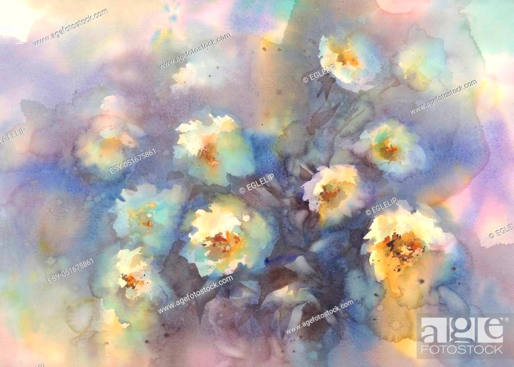 Stock Photo: Light roses in grey background watercolor. Love flowers. Rainy mood.