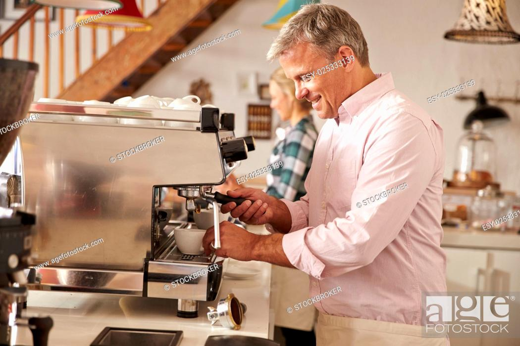 Stock Photo: Cafe owners at work.