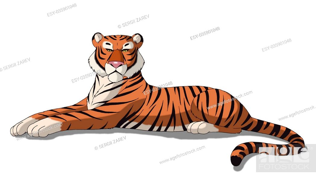 Stock Photo: Digital painting of the Bengal tiger isolated on white background.