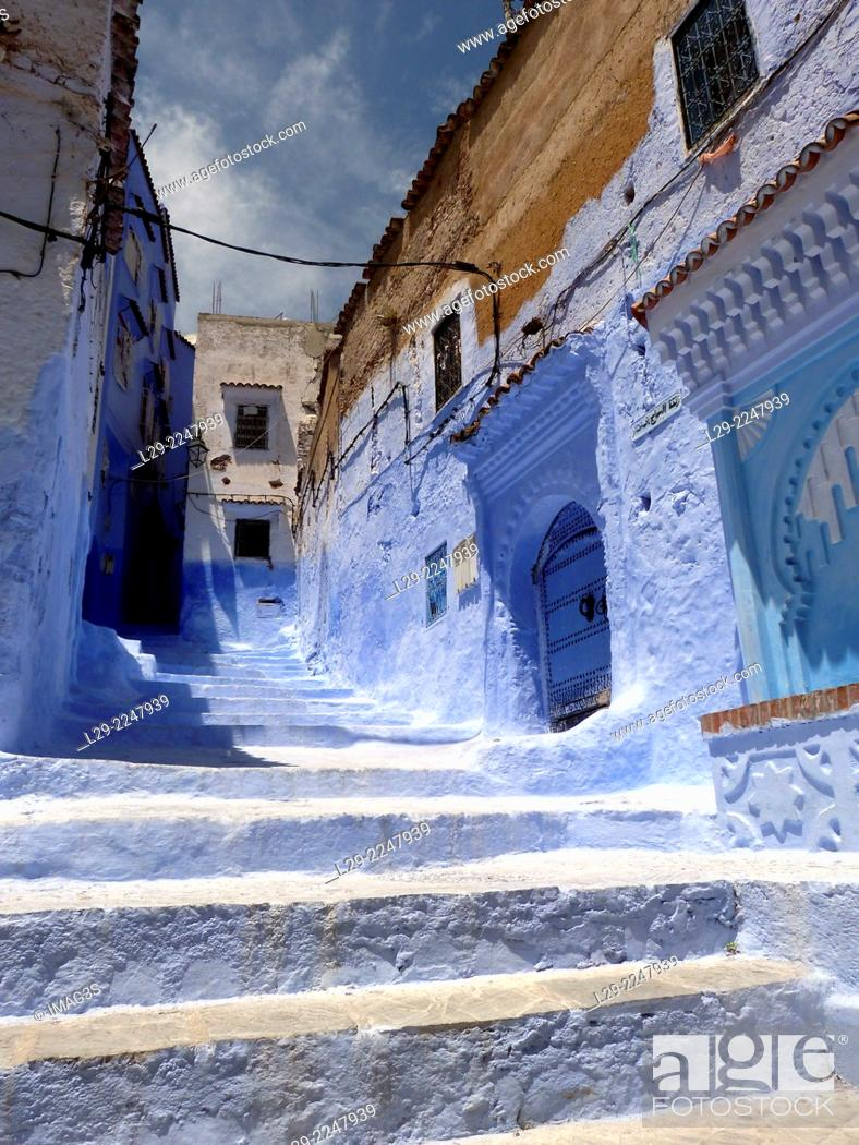 Stock Photo: Houses in the blue medina of Chefchaouen. Rif region, Morocco.