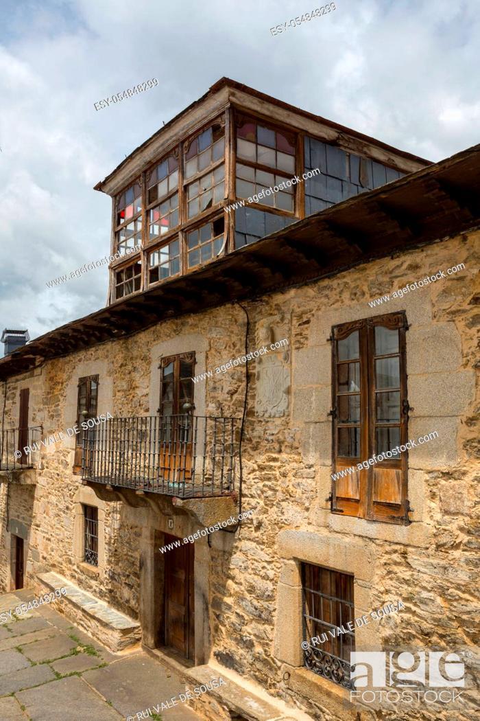 Stock Photo: Old houses of Puebla de Sanabria, Castilla y Leon, Spain.