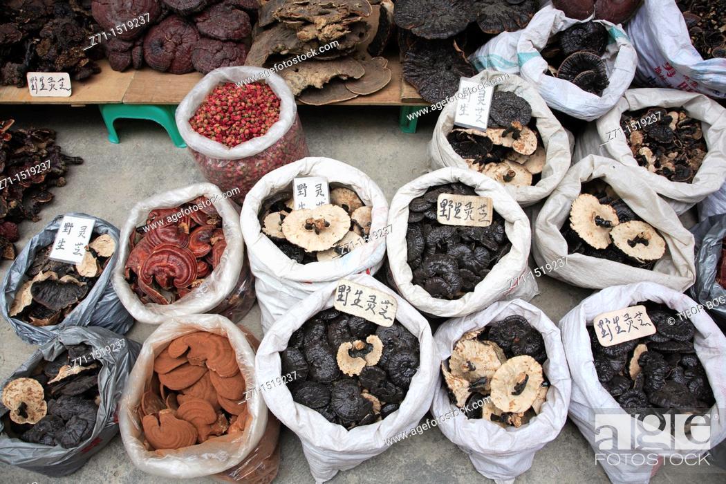 Stock Photo: Mushrooms in Qingping market, Guangzhou, Guangdong Province, China.