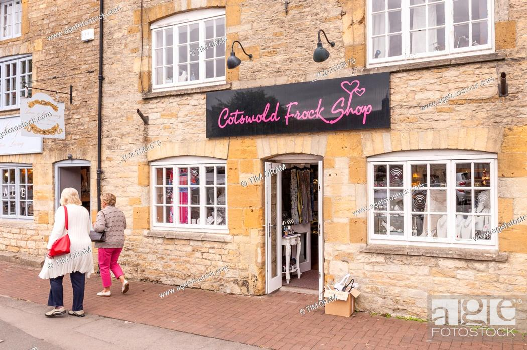 Stock Photo: The Cotswold Frock shop store at Stow-on-the-Wold , Cheltenham , Gloucestershire , England , Britain , Uk.