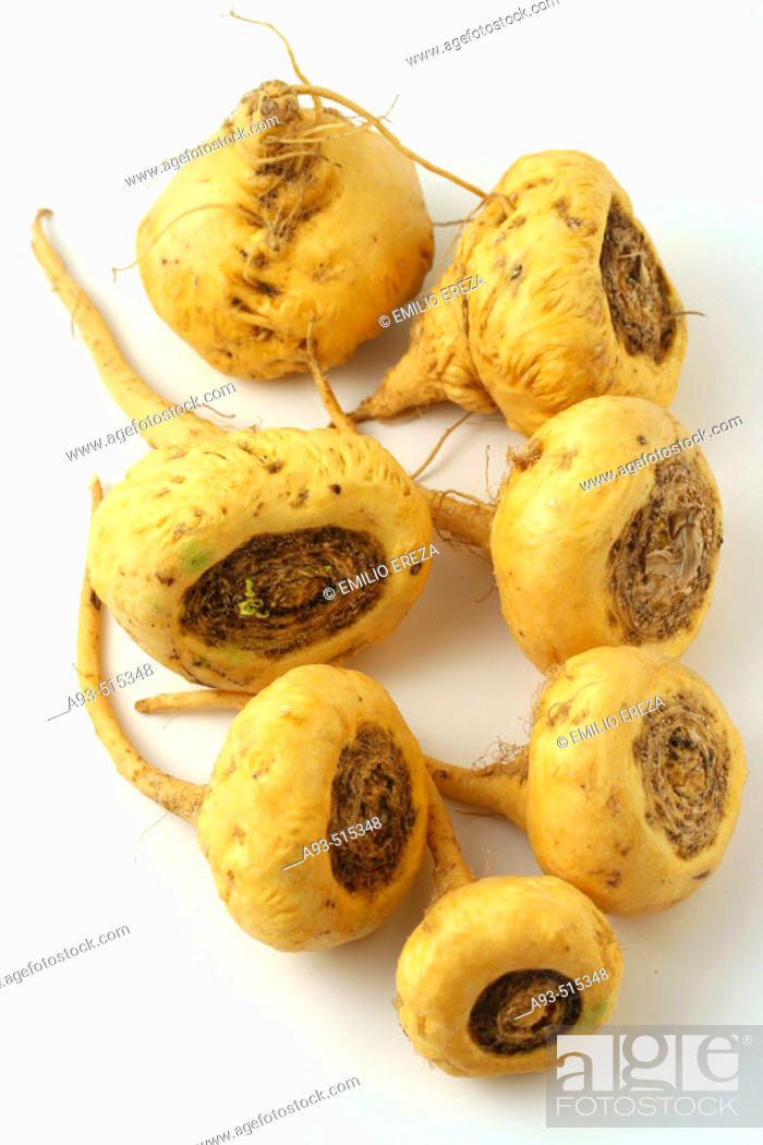 Stock Photo: Maca (Lepidium peruvianum). Andean roots with aphrodisiacal and invigorative characteristics.