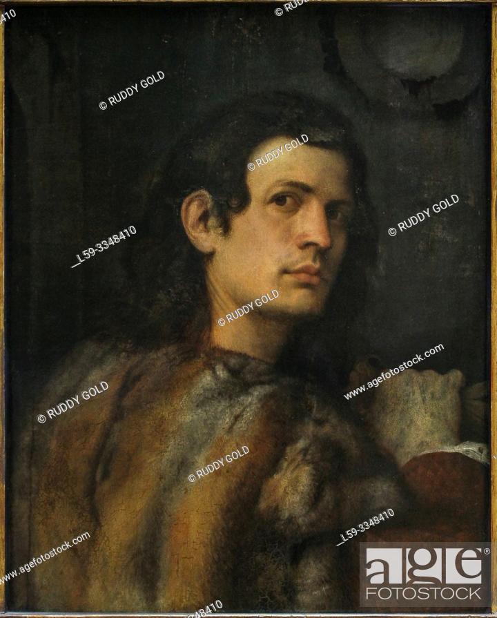 "Stock Photo: ""Portrait of a Young Man"", 1510, by Giorgione da Castelfranco (1477/78-1510)."