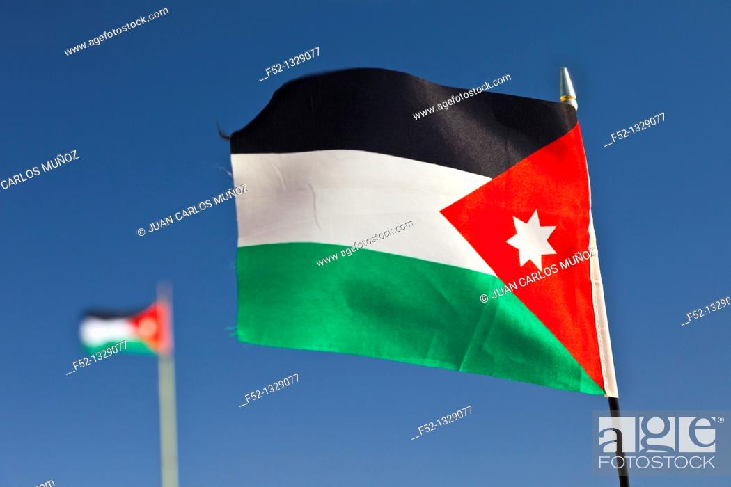 Stock Photo: Flag of Jordan, Middle East.