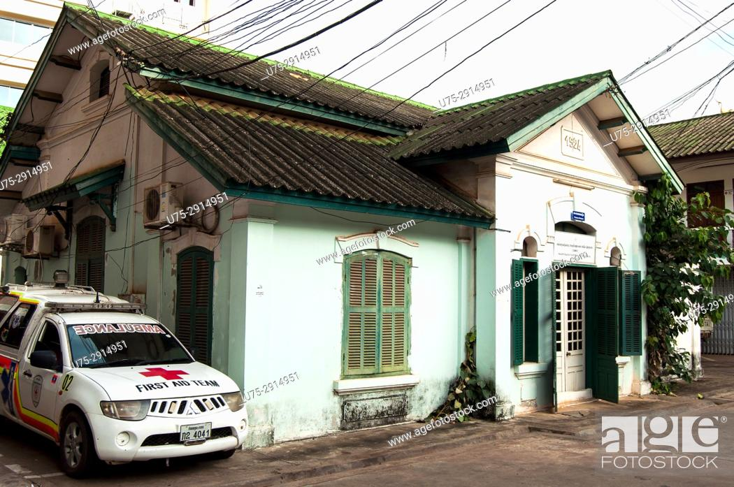 Stock Photo: Old French colonial house now housing the Red Cross Headquarters, Vientiane, Laos.