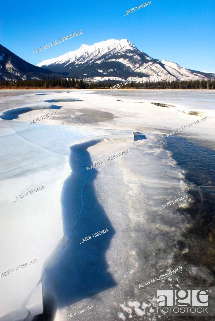 Stock Photo: Frozen Athabasca River, Jasper National Park Alberta Canada.