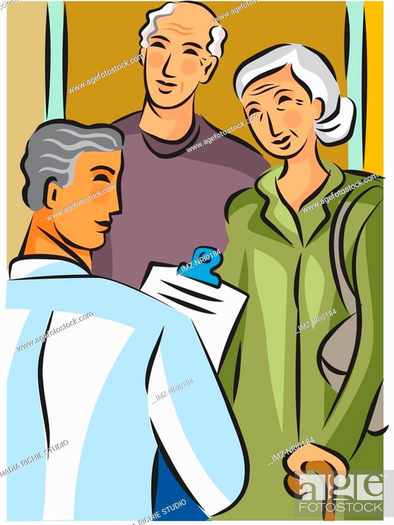 Stock Photo: Doctor holding a clipboard and talking to an elderly couple.