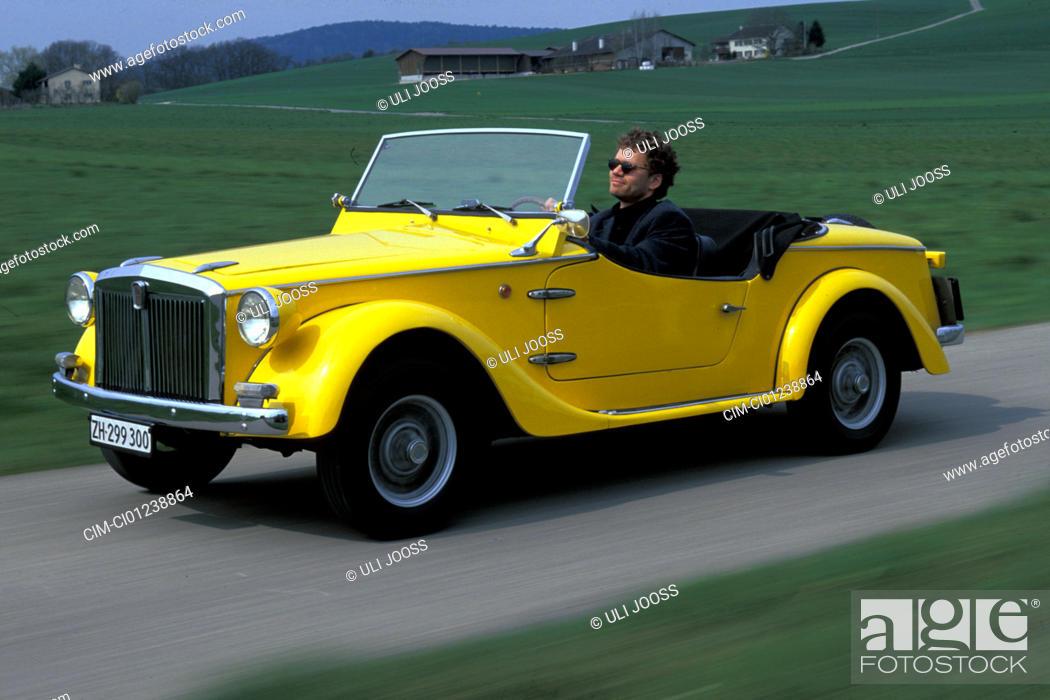 Stock Photo Car Siata Spring Convertible Model Year 1968 1970 Yellow