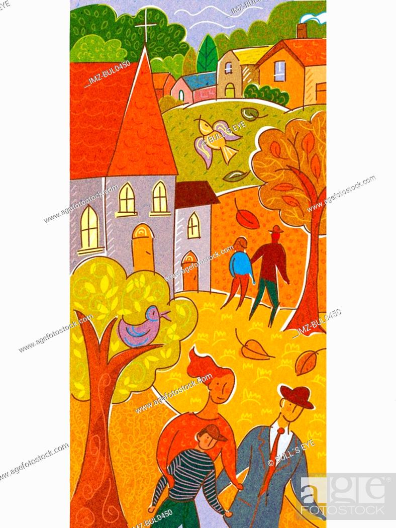 Stock Photo: A family taking a walk with a church and town in the background.