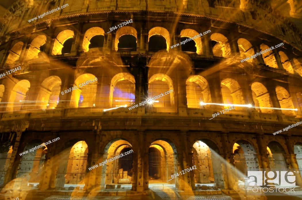 Stock Photo: Roman Coliseum. Started between 70-72 AD under emperor Vespasian, completed in 80 AD under Titus. Rome, Italy.