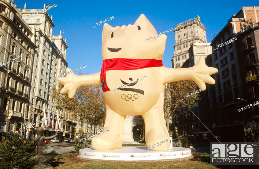 Stock Photo: Cobi, official mascot of the 1992 Summer Olympics in Barcelona. Barcelona, Spain.