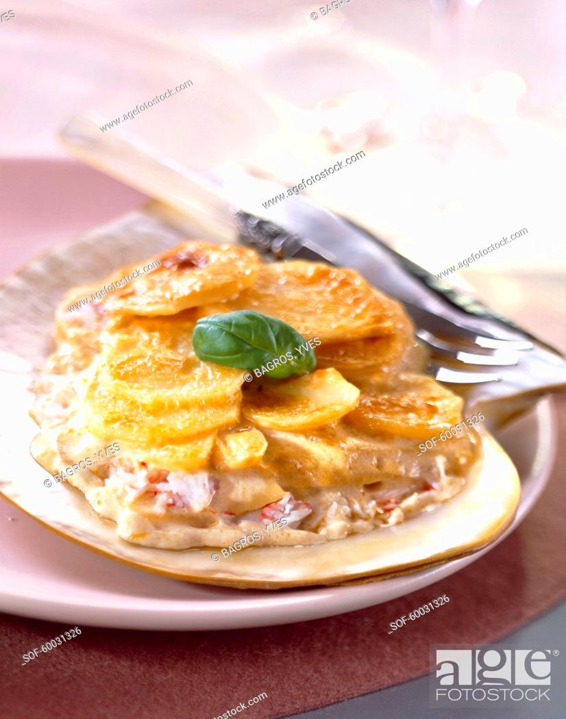 Stock Photo: Crab Dauphinois with lobster bisque.