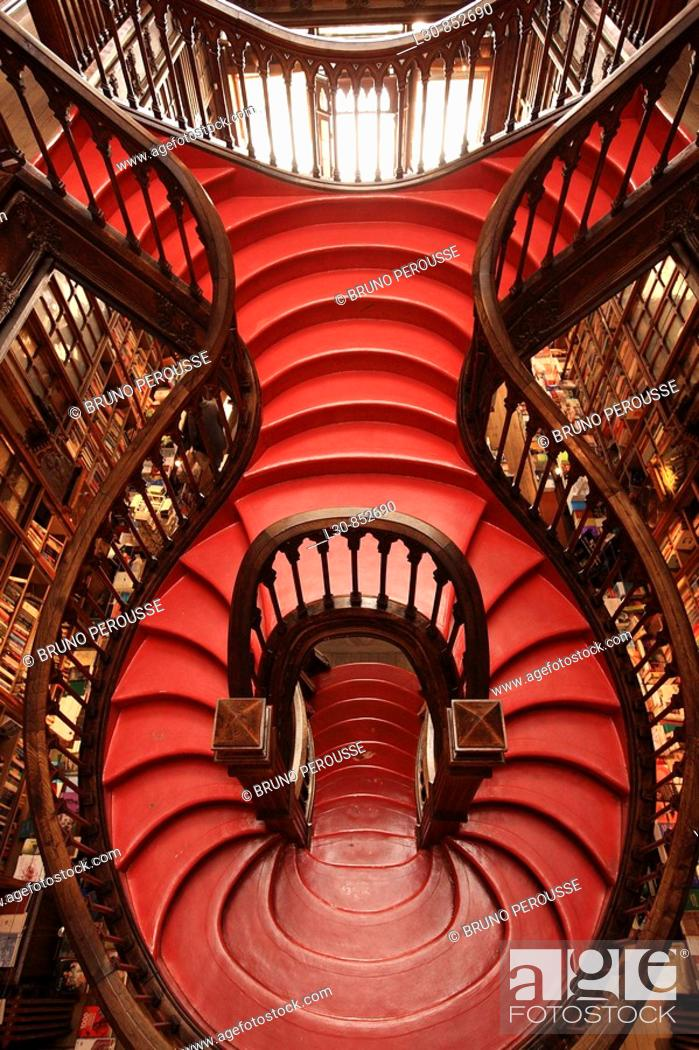 Stock Photo: Staircase in Lello e Irmão bookstore, Porto, Portugal.