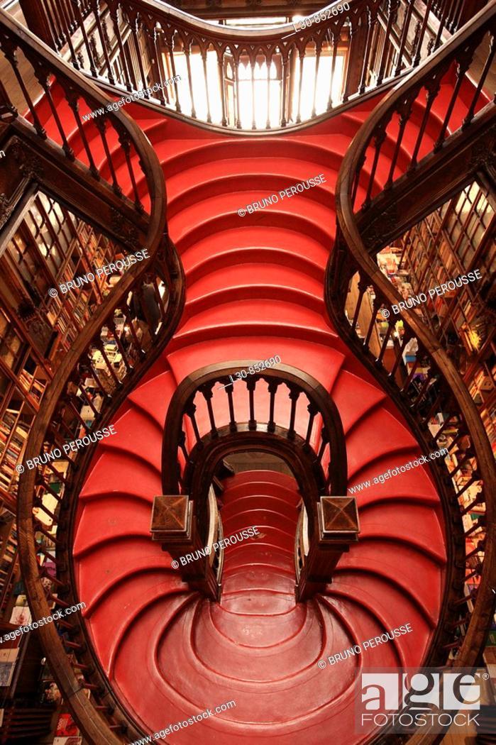 Stock Photo: Staircase in Lello e Irmão bookstore, Porto, Portugal.