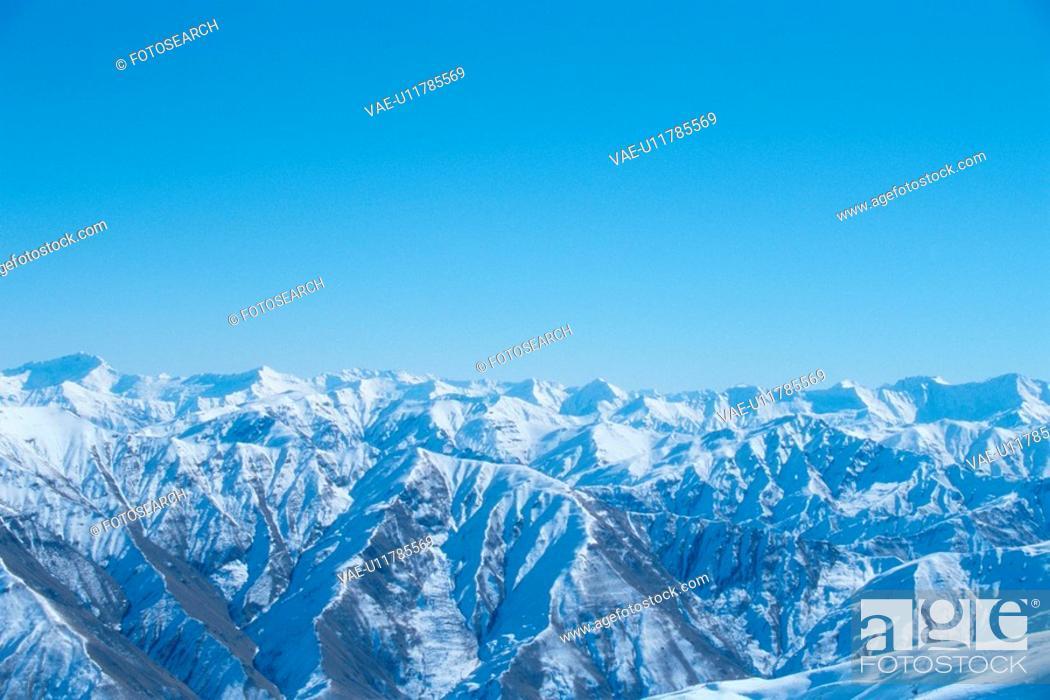 Stock Photo: Snowy Mountain Range.