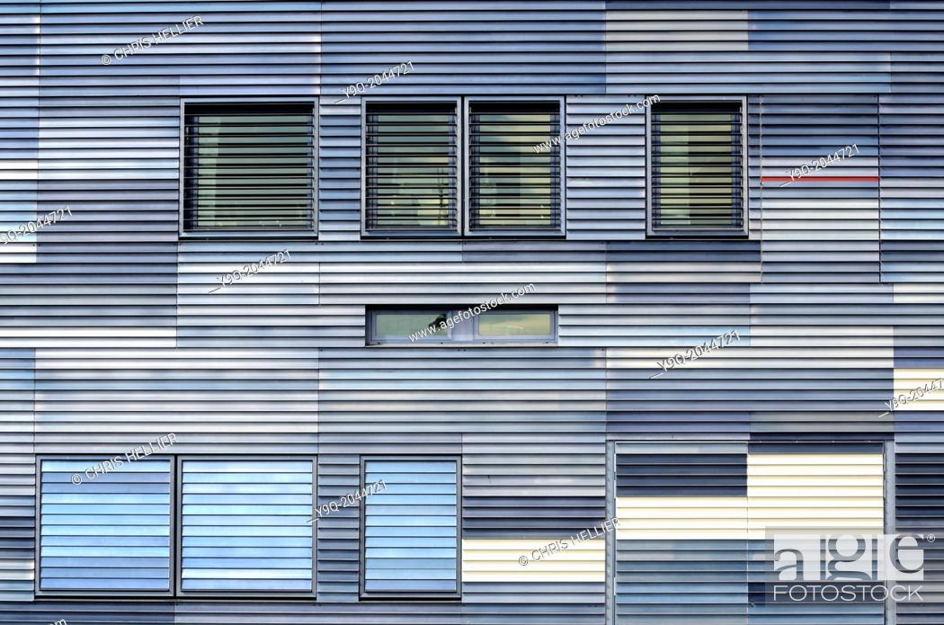 Stock Photo: Louvred Facade of Montpellier Town Hall by Jean Nouvel Montpellier France.