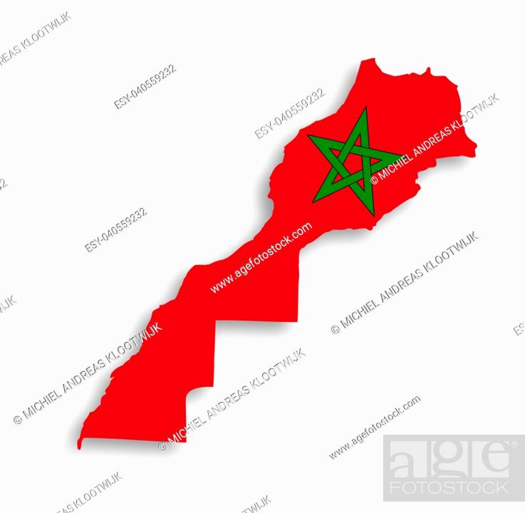 Imagen: Morocco map with the flag inside, isolated.