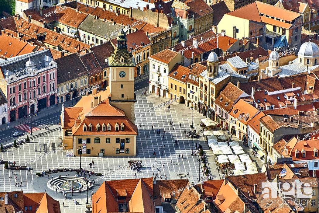Stock Photo: Aerial view of the Brasov Old Town, Transylvania, Romania.