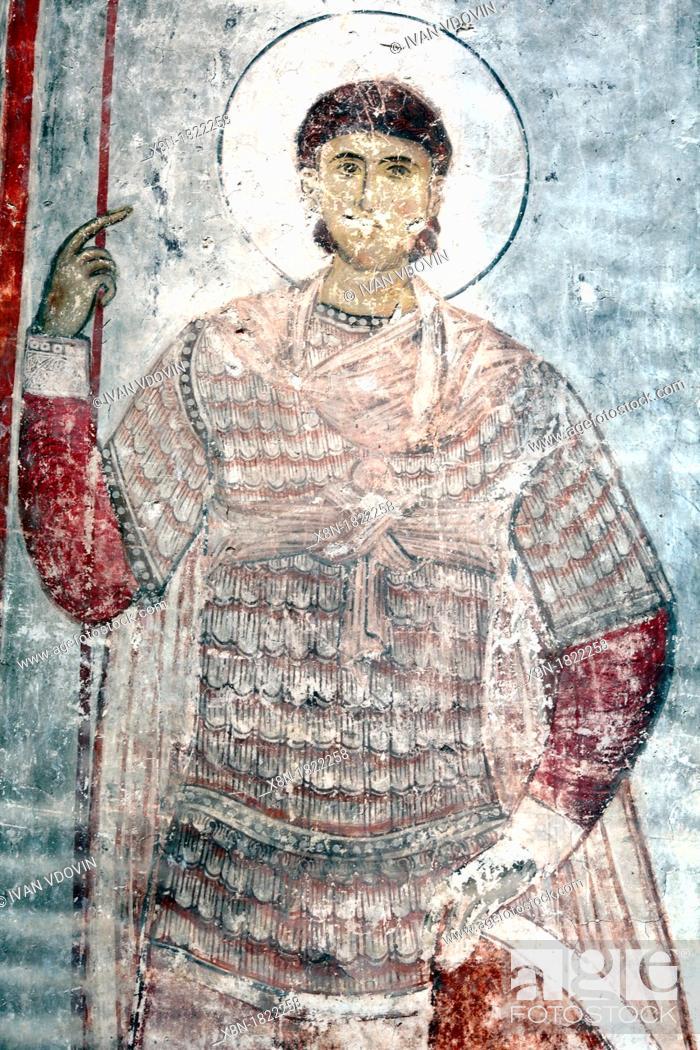 Photo de stock: Mural painting 13th century, Church of the Dormition, Timotesubani, Samtskhe-Javakheti, Georgia.