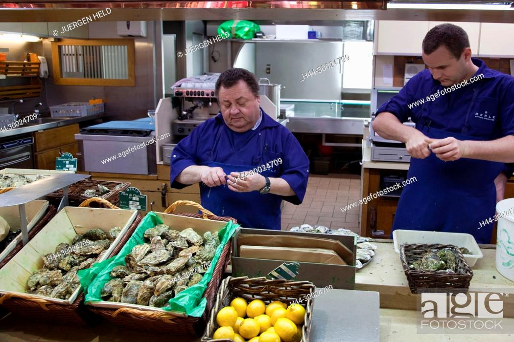 Stock Photo: Sea Food in Les Halles de Lyon Paul Bocuse , Gourmet market, Lyon, Rhone Alps, France,.