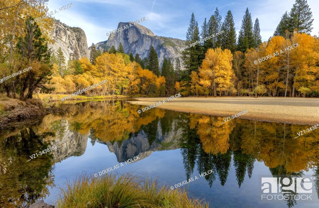 Stock Photo: Fall below Half Dome in Yosemite National Park CA USA World Location.