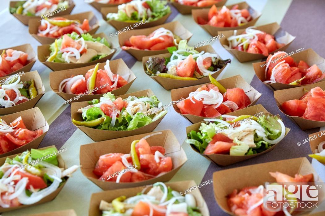 Stock Photo: Salad, Catering in congress, Donostia, San Sebastian, Gipuzkoa, Basque Country, Spain, Europe.