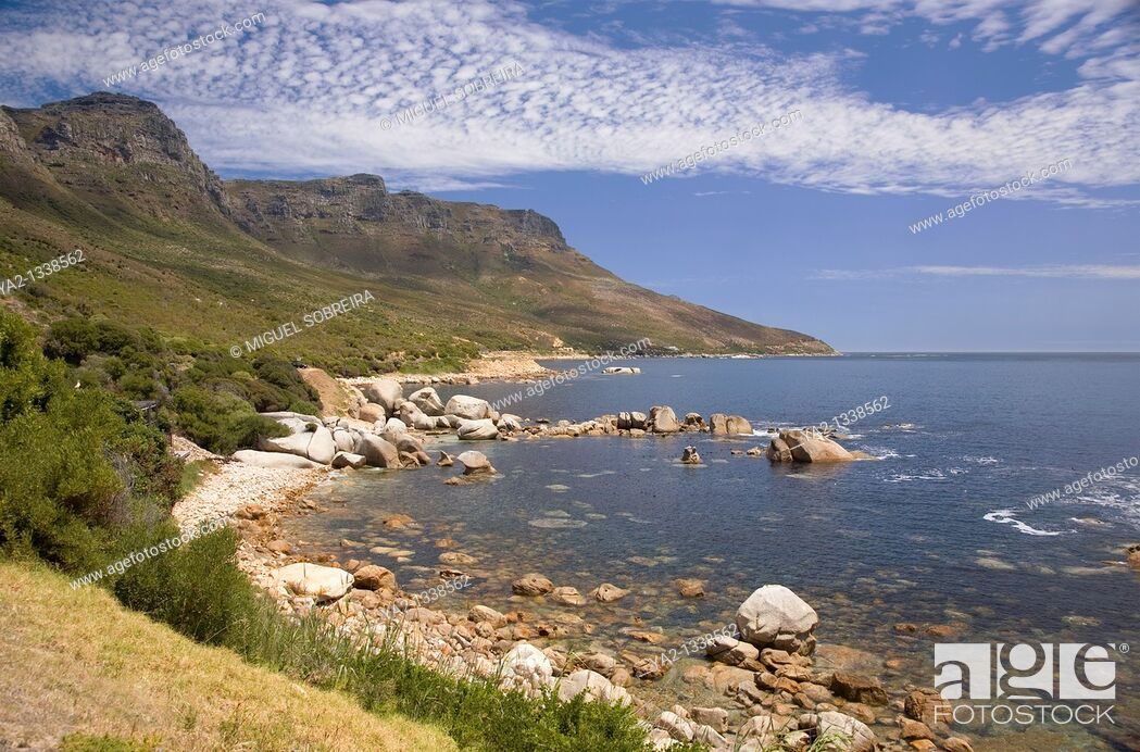 Stock Photo: View of Cape Peninsula - of Bakoven and Ouderkraal coastline coastal road towards Hout Bay, Cape Town South Africa.