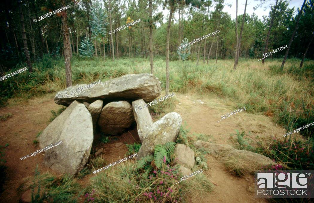 Stock Photo: Pedra da Arca dolmen. Malpica. La Coruña province. Spain.