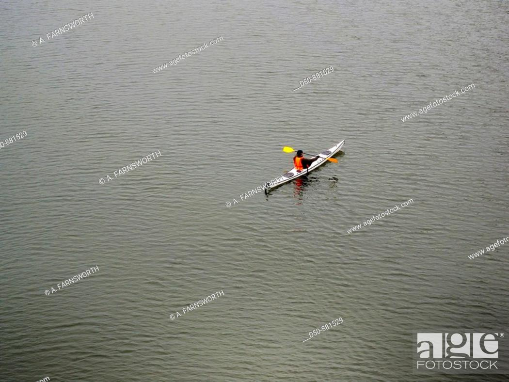 Stock Photo: Kayaker alone in the water, Stockholm, Sweden.