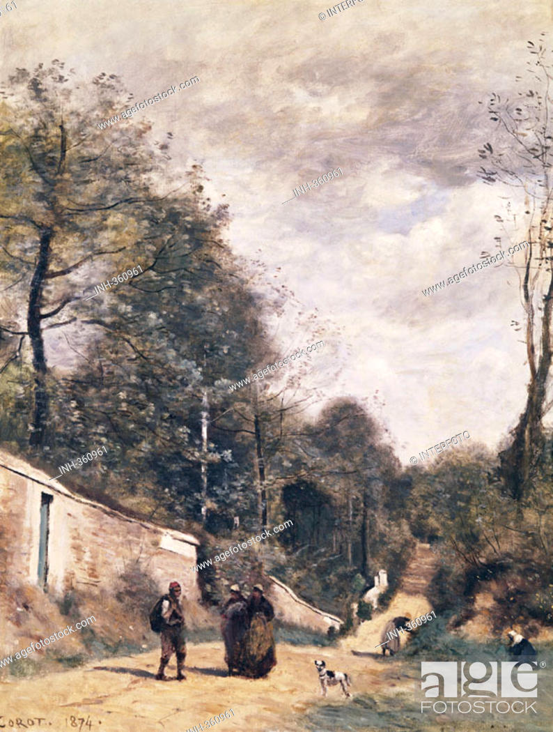 Stock Photo: Ü Kunst, Corot, Jean-Baptiste Camille (16.7.1796 - 22.2.1875), Gemälde 'Die Straße in Avray' 1874, Sammlung Gulbenkian Lissabon franz.