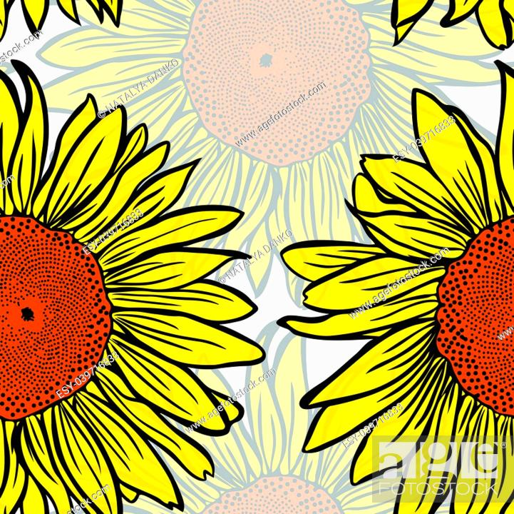 Stock Vector: large yellow blossoming sunflowers, seamless pattern.