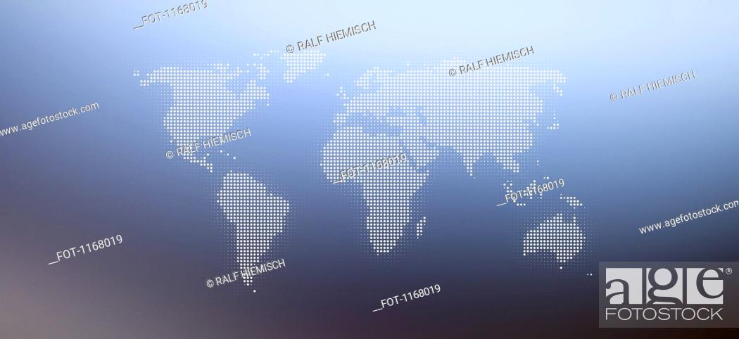Stock Photo: World map in dots against an abstract background.
