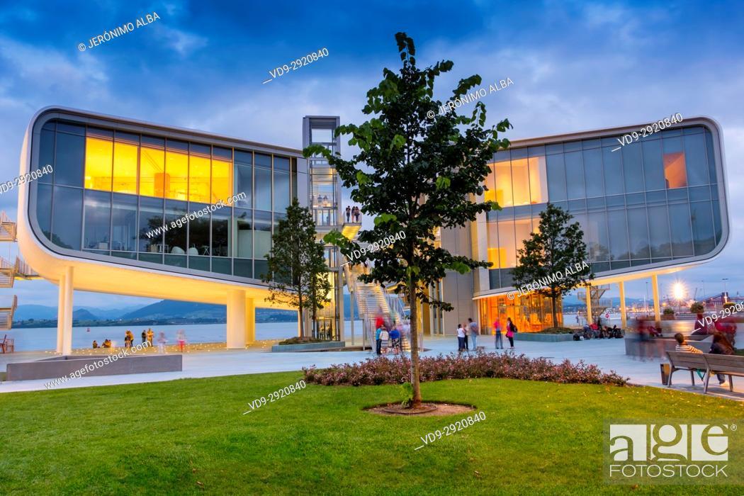 Stock Photo: Dusk, Botin Center Museum Art and Culture. Botin Foundation, architect Renzo Piano. Santander, Cantabrian Sea, Cantabria, Spain, Europe.